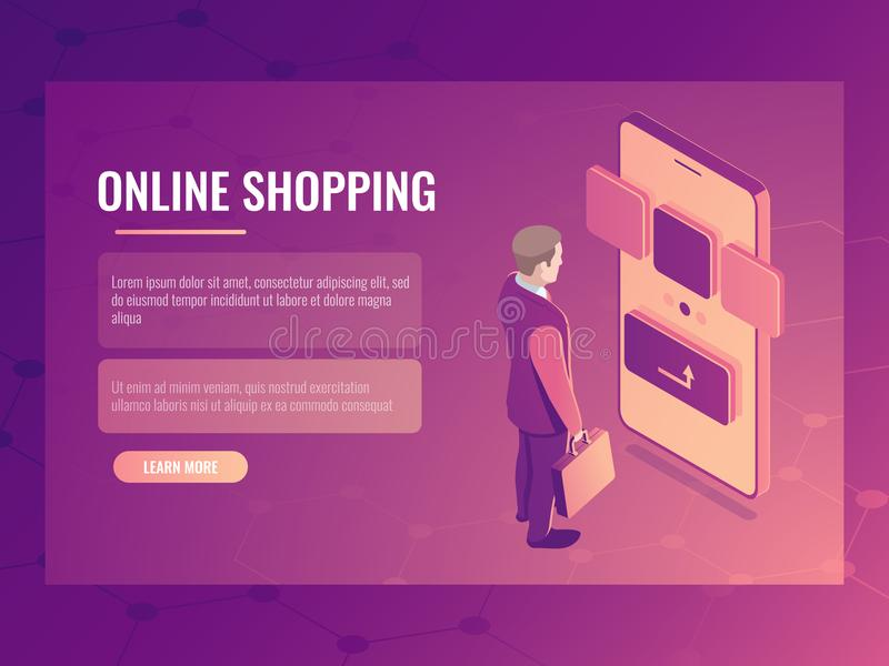 Online shopping isometric vector concept, man makes a purchase, mobile phone smartphone, electronic order 3d royalty free illustration