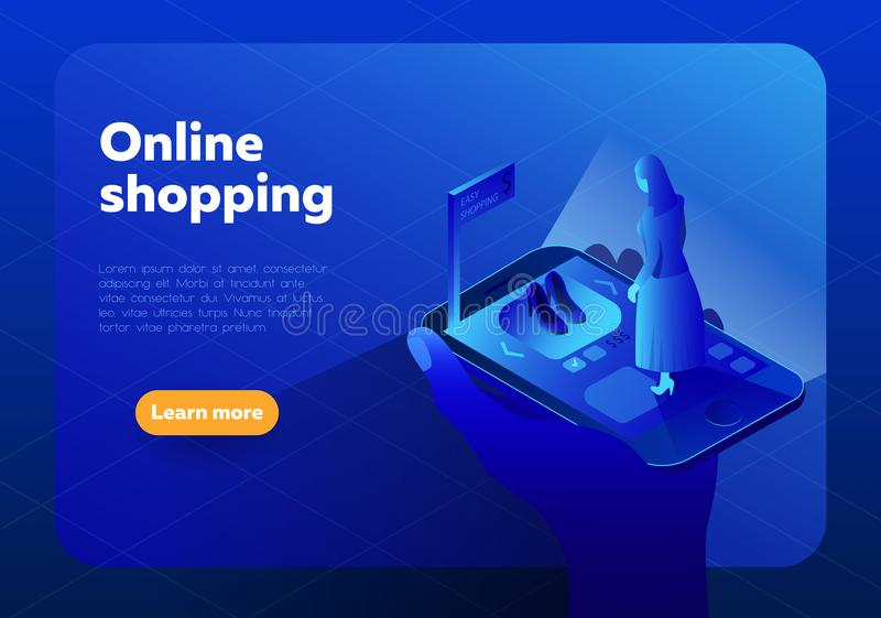 Online shopping isometric vector illustration.Internet shop store in Smartphone with customer. royalty free illustration