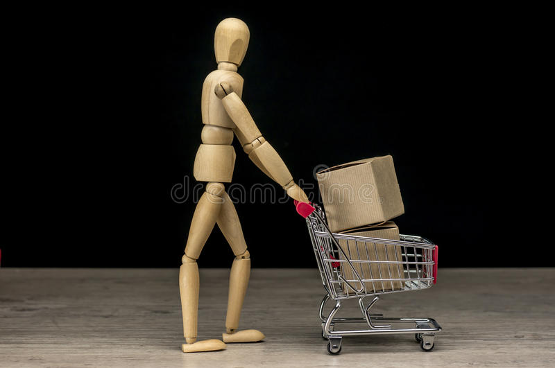 Online shopping items stock image