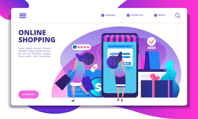 Online shopping landing page. People with smartphone doing internet payment in on-line store. Website or app vector royalty free illustration