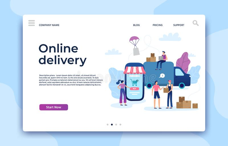 Online shopping landing page. Shop website, modern store business pages and ecommerce internet payment vector concept royalty free illustration