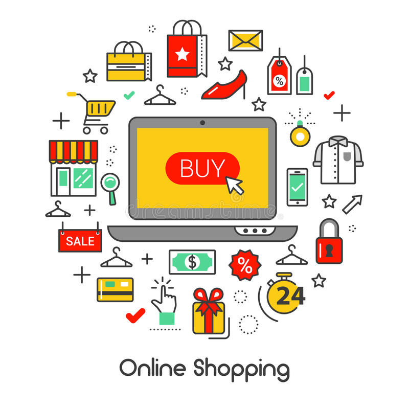 Online Shopping Line Art Thin Icons Set with Laptop and Products. Online Shopping Line Art Thin Vector Icons Set with Laptop and Products vector illustration