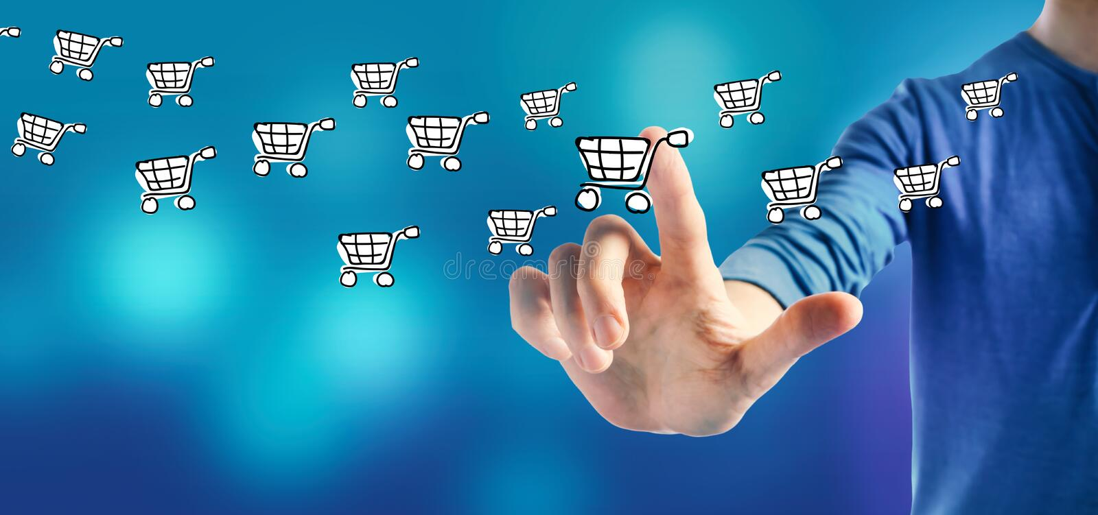 Online shopping with a man stock photography