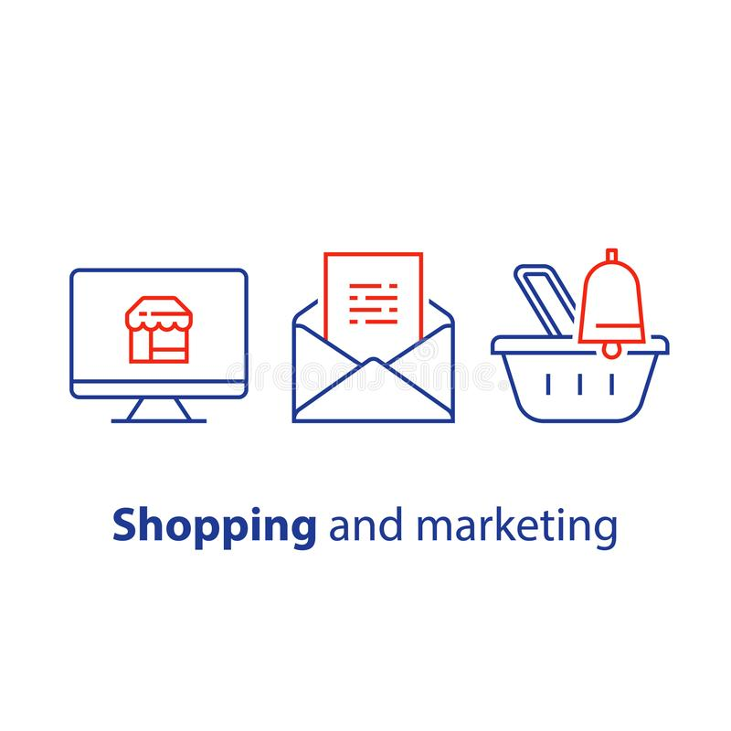 Abandoned cart email remainder, online shopping and marketing strategy, news letter subscription, sales improvement. Online shopping and marketing strategy vector illustration