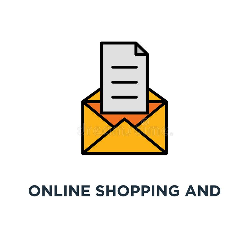 online shopping and marketing strategy icon. abandoned cart email remainder, promotion offering, thin concept symbol design, news stock illustration