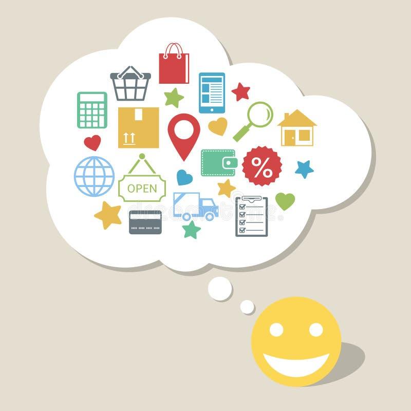 Online-shopping med den lyckliga tillfredsställda kunden stock illustrationer