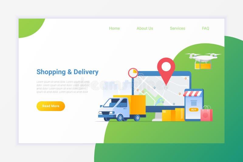 Online-shopping med leveranstjänster Flat vektorillustration Leverera paket från Van eller Drone stock illustrationer