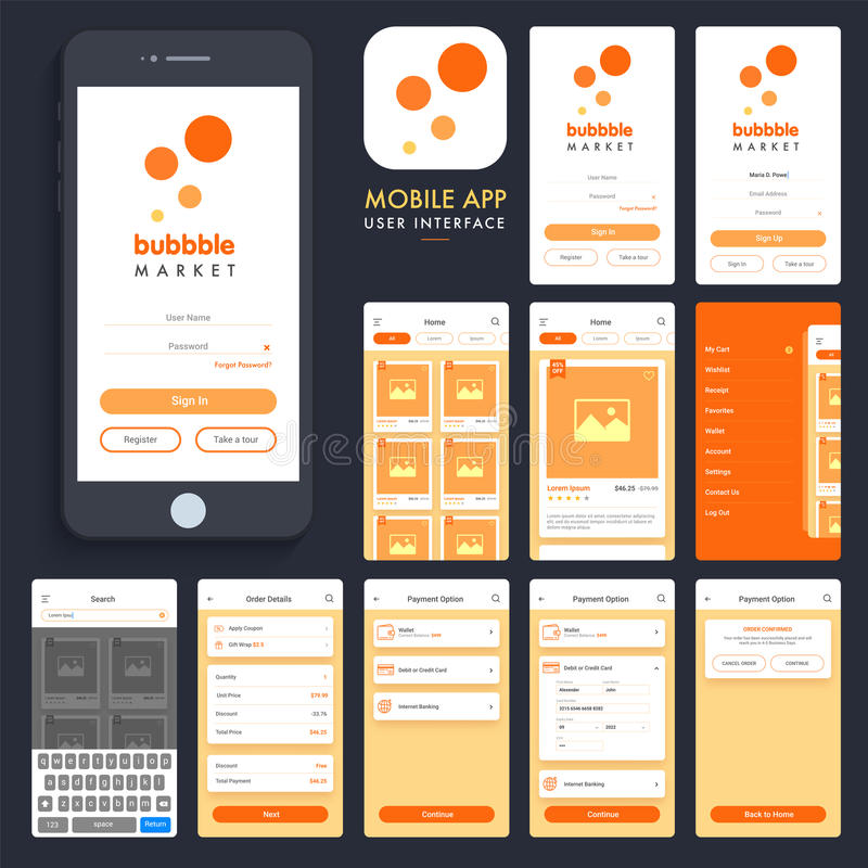 Online shopping mobile app ui ux screens stock for Onlineshop fur mobel