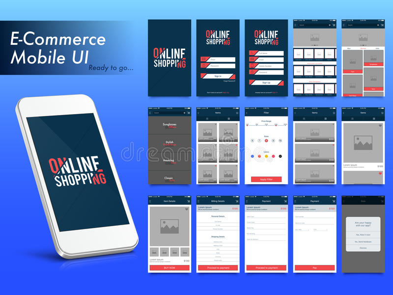 Online Shopping Mobile Apps UI, UX and GUI layout. stock illustration
