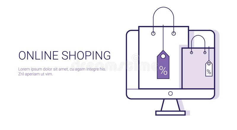 Online Shopping Mobile Payment Ecommerce Business Concept Template Web Banner With Copy Space. Vector Illustration stock illustration