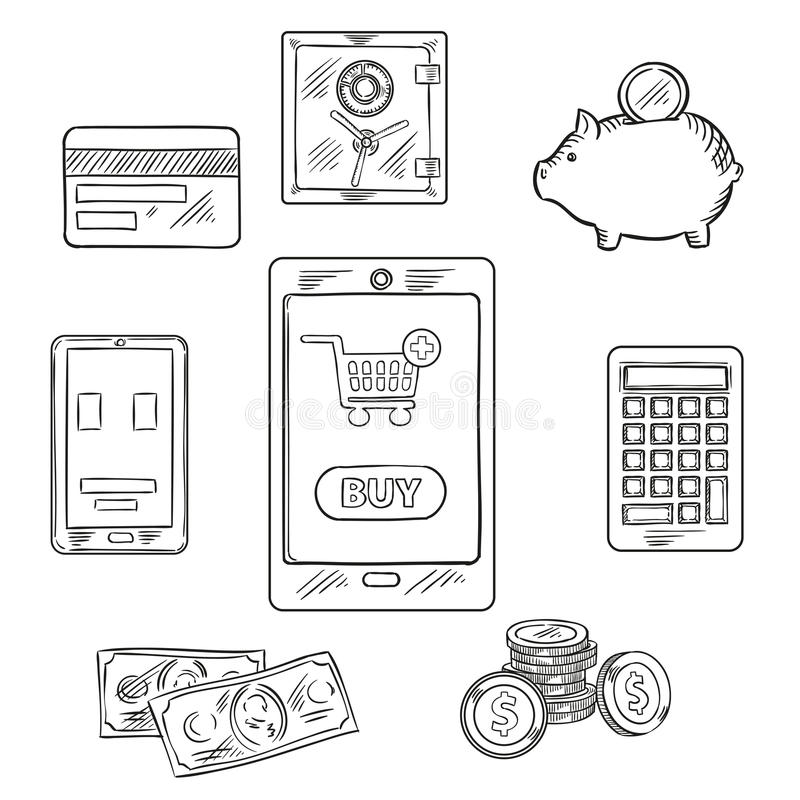 Online Shopping Objects And Icons Stock Vector - Illustration of ...