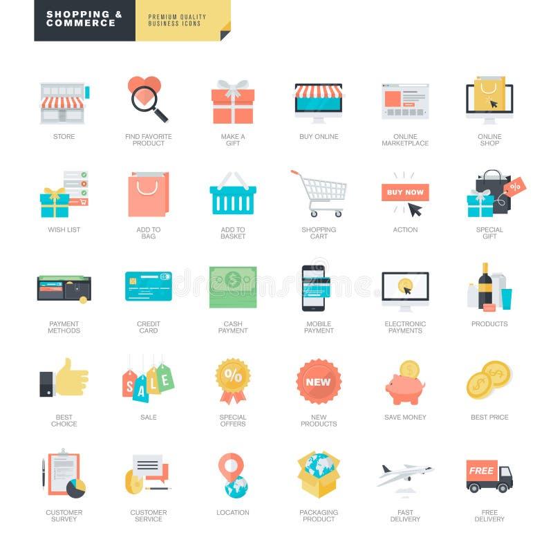 Online-shopping- och e-kommers för plan design symboler för diagram- och rengöringsdukformgivare