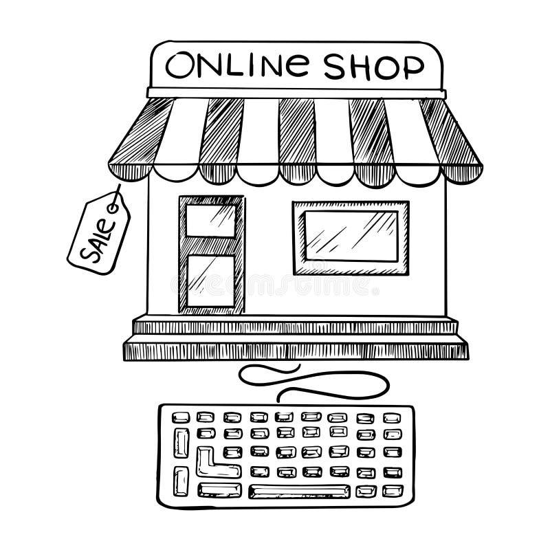 Online-shopping- och lagersymbolen skissar royaltyfri illustrationer