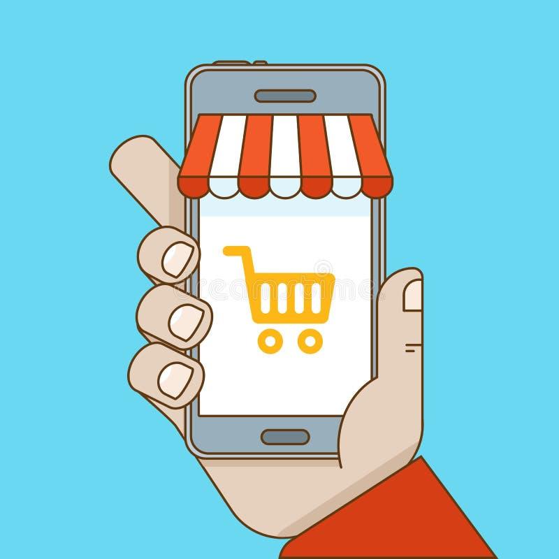 Online-shopping- och mobile-kommers begrepp royaltyfri illustrationer