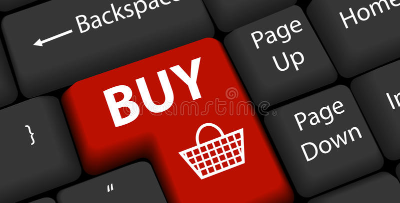 Online-shopping på tangentbordet skriver in vektor illustrationer