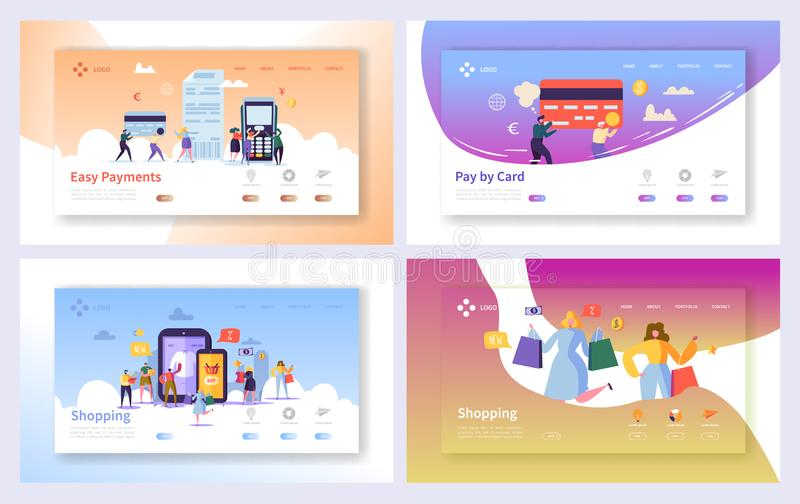 Online Shopping Payment Transaction Landing Page Set. Internet E-commerce Store Sale Technology. Marketing Retail. Commerce Banking Concept Website or Web Page vector illustration