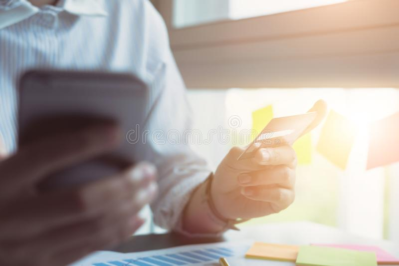 Online shopping and payment,A woman`s hands holding smartphone a. Nd using credit card for online shopping. Online shopping concept royalty free stock photography