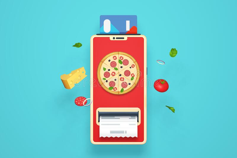 Online Shopping Pizza Delivery Payment Stock Illustration Illustration Of Mobile Market 179509339