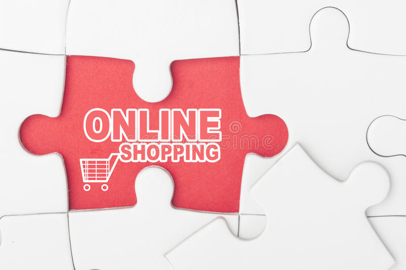 Online shopping on puzzle royalty free stock photo