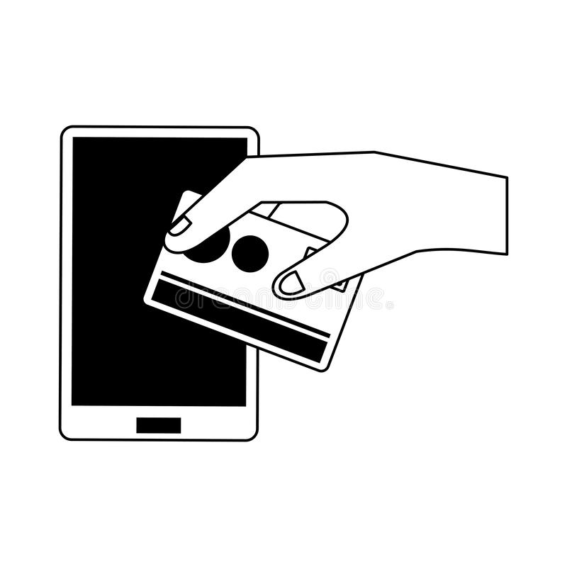 Online shopping and sales symbols in black and white stock illustration