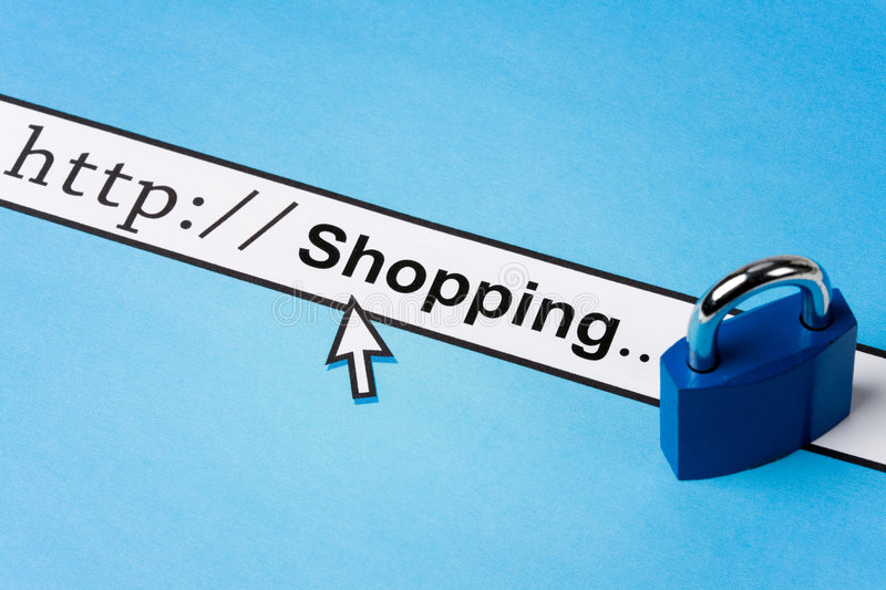 Online shopping security. Computer Screen, concept of online shopping security royalty free stock image