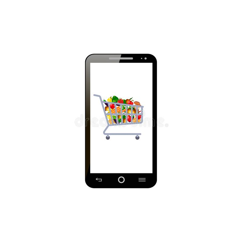 Online shopping. Shopping trolley full of different food on the smartphone. illustration stock illustration