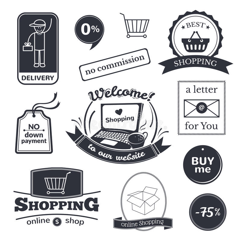 Online shopping signs set. Internet store logos and bages vector illustration