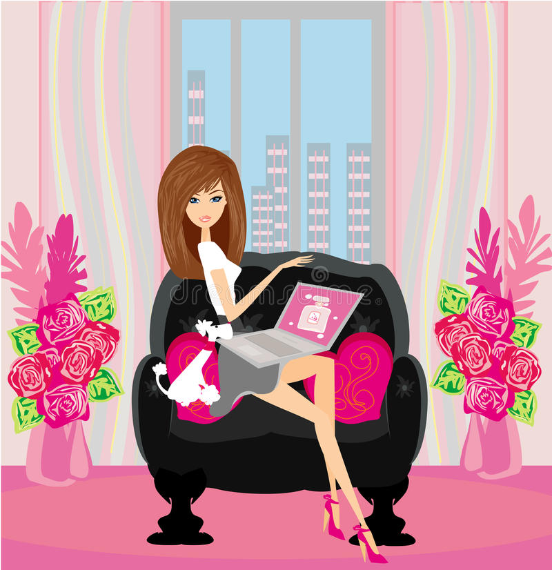 Download Online Shopping -  Smiling Woman Sitting With Laptop Stock Vector - Image: 33264676