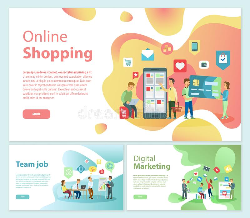 Online Shopping Team Job Posters Text Set Vector. Online shopping team job posters with text sample set vector. Digital market using internet and web resources royalty free illustration