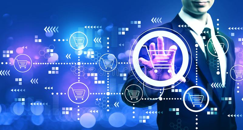 Online shopping theme with businessman. On blurred blue light background royalty free illustration