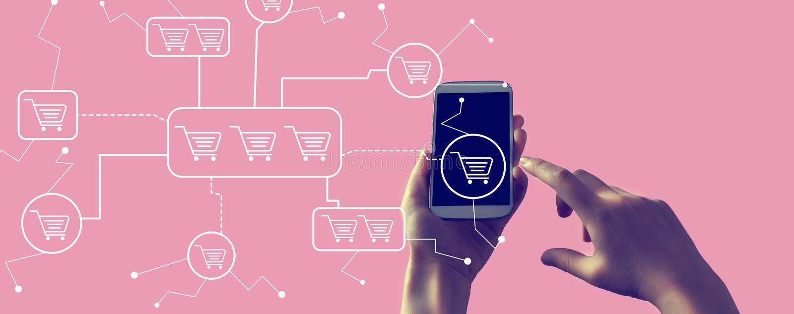Online shopping theme with smartphone. Online shopping theme with person holding a white smartphone royalty free stock photo