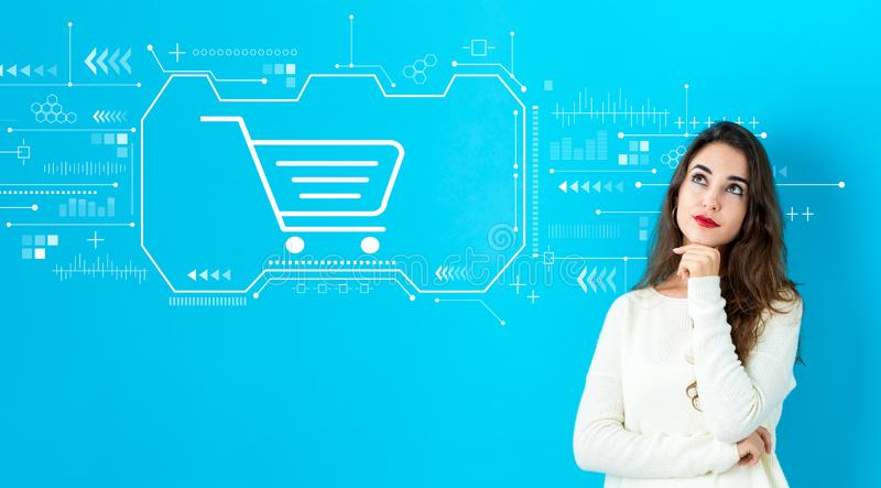 Online shopping theme with young woman stock photos