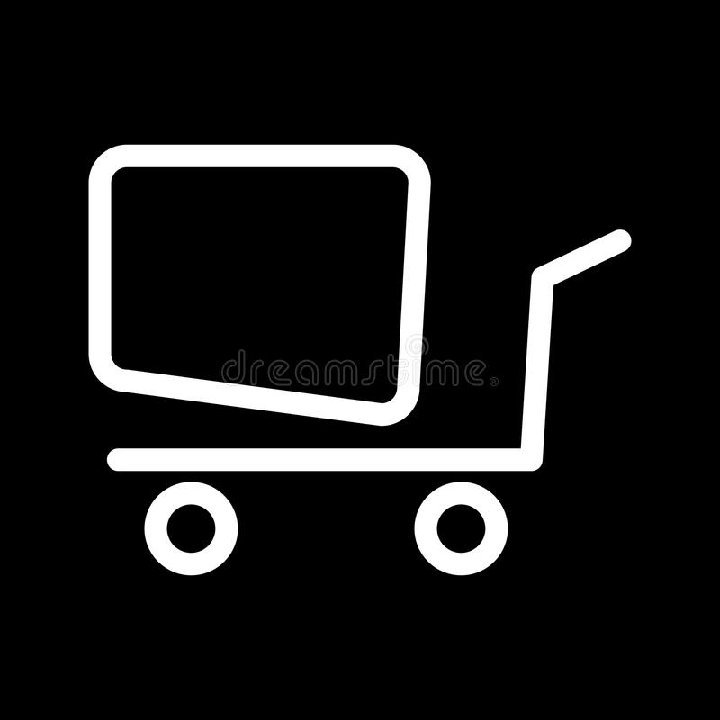 Online shopping vector icon. Black and white shopping cart illustration. Outline linear business icon. stock illustration