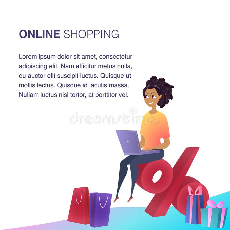Online Shopping Website Element Vector Template. Customer Benefits Illustration. Woman Making Items Ordering. Loyalty Program Concept. Satisfied Client. Online royalty free illustration
