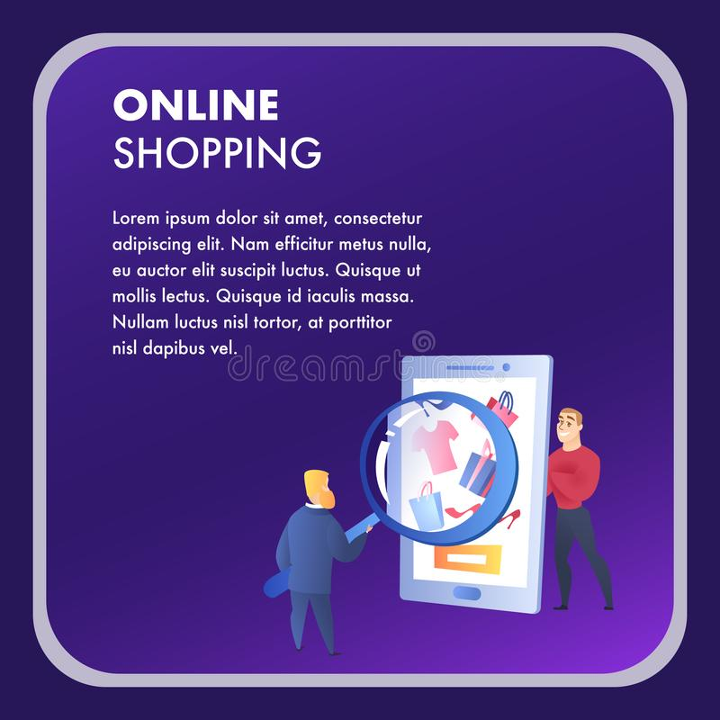 Online Shopping Website Element Vector Template. E-Commerce Flat Landing Page. Internet Marketing, E-Payment Illustration. Two Men in Selling Process. Ad royalty free illustration