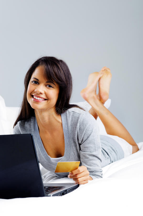 Online Shopping Woman Stock Photo