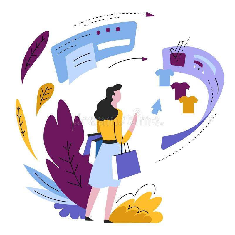 Online shopping woman buying clothes web pages and sites. Shop online make order Internet store pages or web sites vector isolated abstract icon woman shopping stock illustration