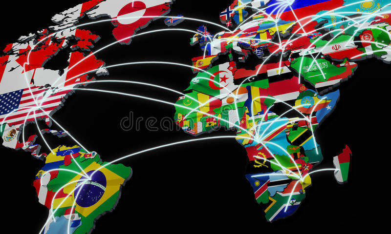 Online shopping in world map 3d illustration on black stock download online shopping in world map 3d illustration on black stock illustration illustration of post gumiabroncs Gallery