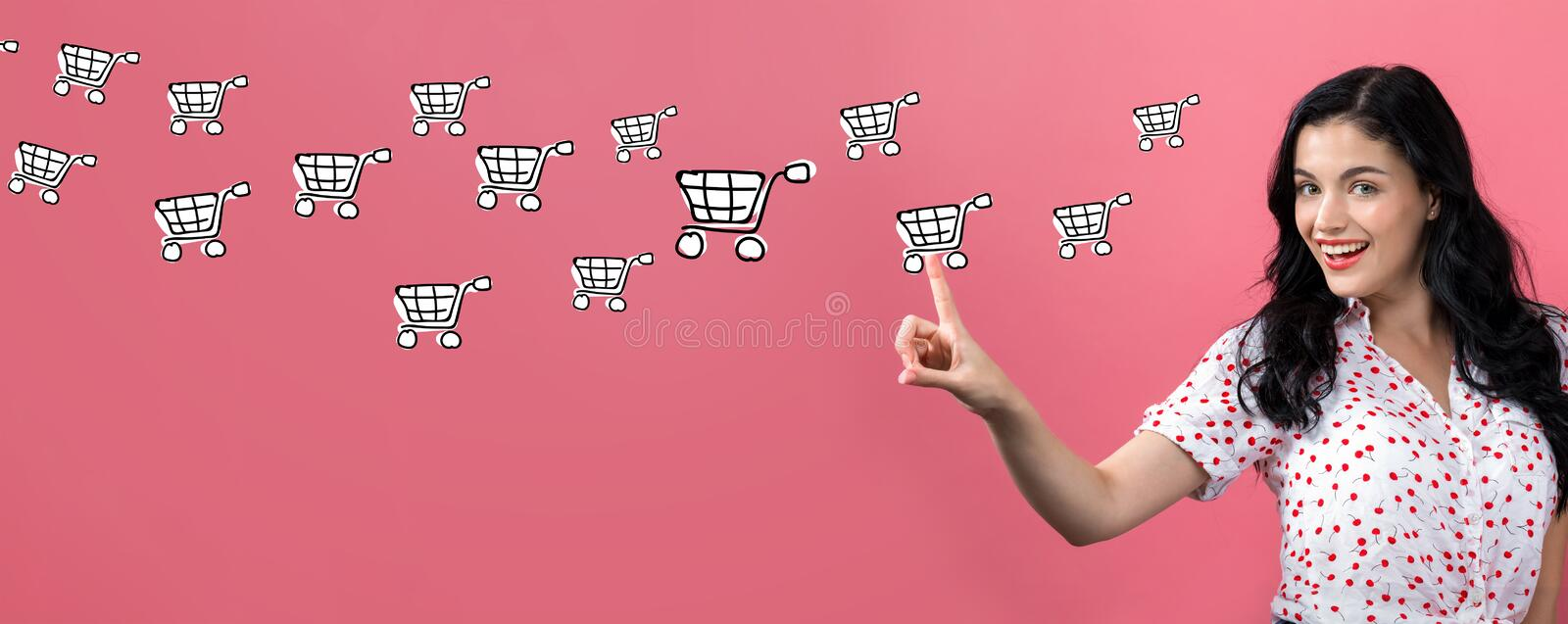 Online shopping with young woman royalty free stock image