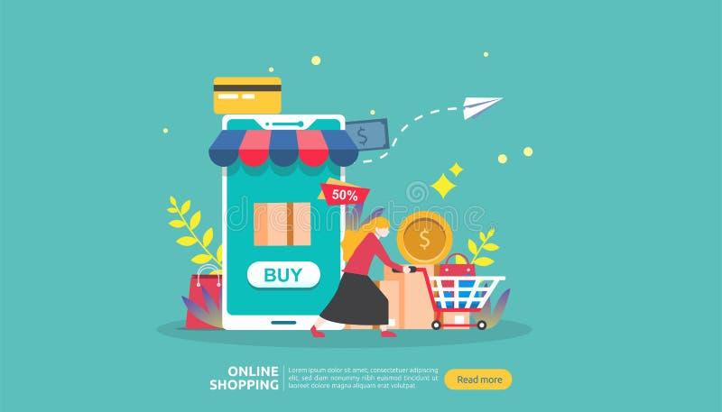 Online-shoppingbaner Till salu e-kommers för affärsidé med smartphonen och det mycket lilla folkteckenet mall för rengöringsdukla royaltyfri illustrationer