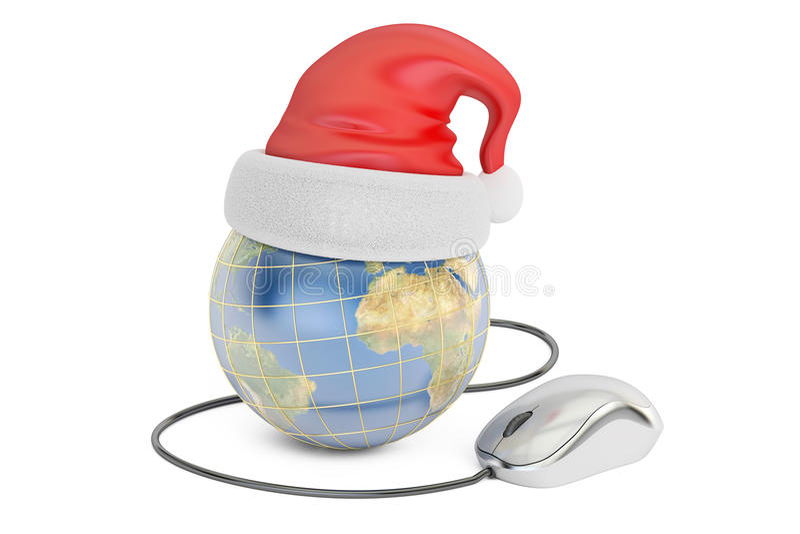 Online-shoppingbegrepp för global jul, jord med santa hatt a stock illustrationer