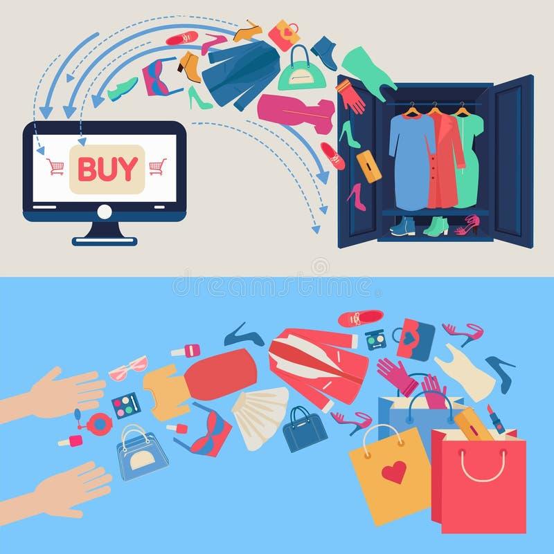 Online-shoppingbegrepp i plan design vektor illustrationer