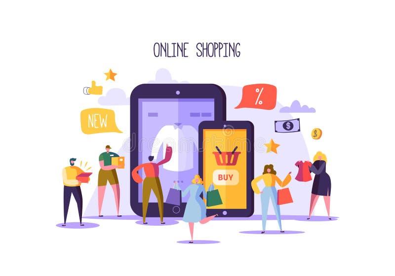 Online-shoppingbegrepp med tecken Mobilt E-kommers lager med köpande produkter för plant folk med Smartphone royaltyfri illustrationer