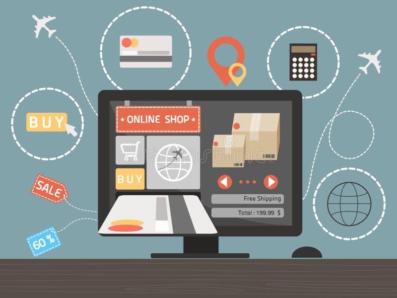 Online-shoppingbegrepp på datorskrivbordet vektor illustrationer