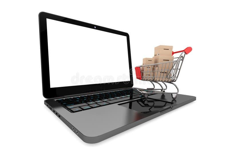 Online-shoppingbegrepp. Shoppingvagn med askar över bärbara datorn vektor illustrationer