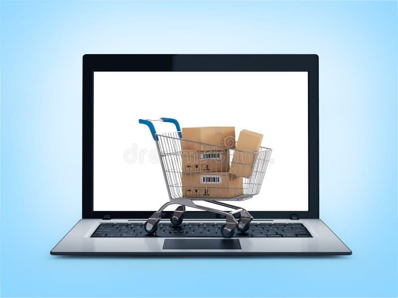 Online-shoppingbegrepp. Shoppingvagn med askar över bärbara datorn stock illustrationer
