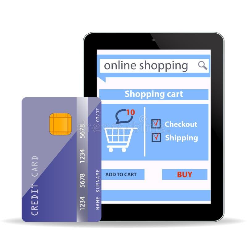 Online-shoppingbegreppse-kommers teknologi med modern den minnestavlaPC och kreditkorten som isoleras på vit stock illustrationer