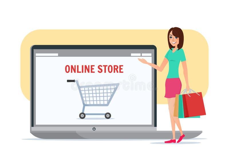 Online-shoppingflicka Vektor för affärstecknad filmbegrepp vektor illustrationer