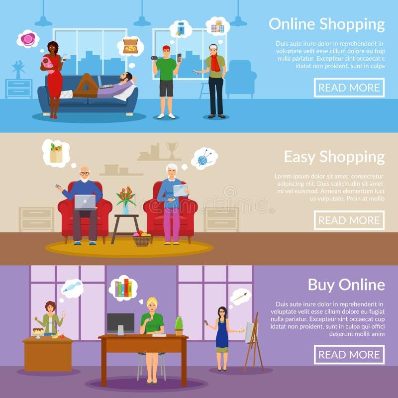 Online-shoppinghorisontalbaner vektor illustrationer