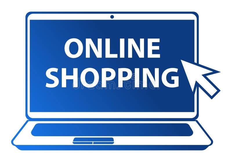 Online-shoppingillustration på vit bakgrund royaltyfri illustrationer